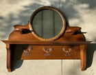 1920-30's two piece mahogany & oak mantle w/ round wreath mirror, Candle Shelves