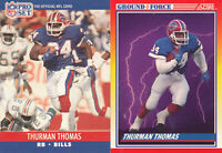 Thurman Thomas Lot of 2 different 1990 Buffalo Bills football Cards