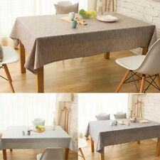 Modern Flax Linen Plain Tablecloth Wedding Party Banquet Dining Table Cloth Home