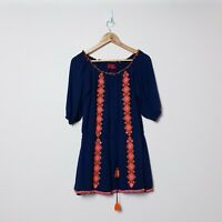Tigerlily Size 10 Navy Blue Orange Boho Hippie Cute Tassel Dress