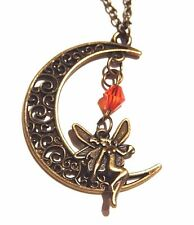 BRONZE FILIGREE MOON FAIRY PENDANT red bead fae charm crescent necklace night 3G