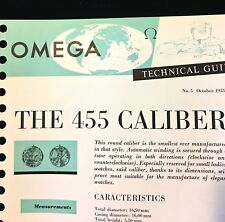 Rare vintage Omega Technical Guide 1955 for Omega automatic watch 455 movement