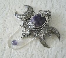 Amethyst Triple Moon Brooch, wiccan pagan wicca witch witchcraft cloak pin magic