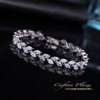 Armband Bracelet 18K Weiss gold mit Swarovski AAA Kristallen NEU 17 cm bzw 20cm