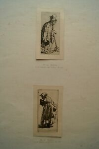 Rembrandt Antique Prints of Etchings Lot of 2 B166 Beggar Man Stick & B168 Woman