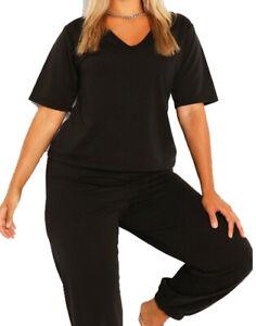 Loungewear Women Plus Size V Neck T-Shirt and Jogger Set Ladies Pyjama M48