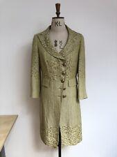 Etro Yellow/gold/green Long Overcoat Jacket Linen/Silk/Cotton Ita 42 Uk 8/10