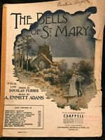 Vintage The Bells of St. Mary's 1917 Sheet Music Low Voice WWI Era Collectible