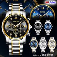 GIMTO Fashion Men's Watches Stainless Steel Date Waterproof Quartz Wrist Watch