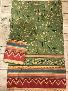 FAB! Vintage Wamsutta Green Floral Lace Trim Percale Pair STD Pillowcases USA