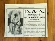 FREE SHIPPING CANADA CANADIAN AD 1909 D & A CORSET MODEL CREST 400 LINGERIE