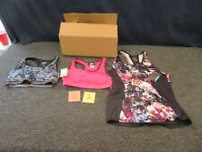 3 LADIES HALTER BRA WORKOUT TOP ATHLETIC MEDIUM MD M WOMENS CLOTHES EVERLAST