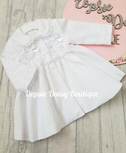 Girls White Spanish Ribbon & Lace Coat
