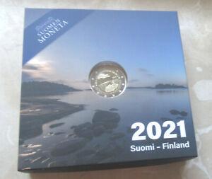 """Finnland 2021 - 2 Euro Gedenkmünze """" 100 J. Autonomie von Aland """" in PP / Proof"""