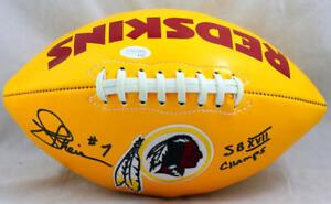 Joe Theismann Signed Washington Yellow Logo Football w/ Insc - JSA W Auth *Black