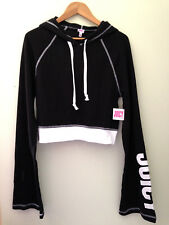 NWT JUICY Juicy Couture Pitch Black Track Cropped Hooded Sweatshirt Top M