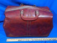 Antique-VTG Large Doctor's Bag Brown Vinyl Prop Luggage Latch 2 Handles Zipper