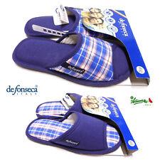 DEFONSECA Ciabatte pantofole uomo estive aperte cotone BARI M300/301 Blu Quadri