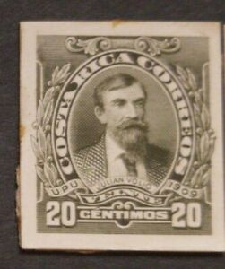 O) 1910 COSTA RICA, DIE PROOF,  JULIAN VOLIO SCT 74 20c olive green, XF