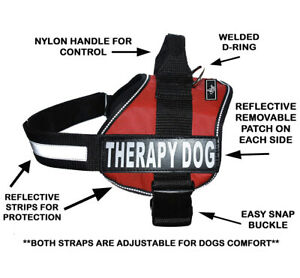 Dog Puppy Harness Vest Patches Reflective Therapy Service Dog No Pull Red XXS