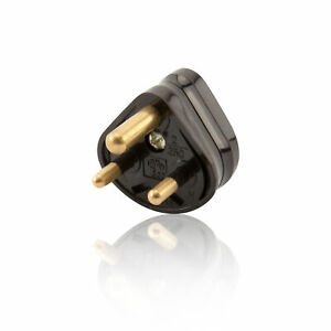2 Amp 3 Pin Round Pin Mains Plug - Black