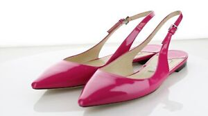 03-51 $550 Women's Sz 40 M Jimmy Choo Erin Patent Leather Slingback Flats - Pink