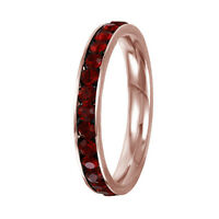 Stainless Steel Rose Gold Plated Eternity Garnet January Birthstone Ring 3MM