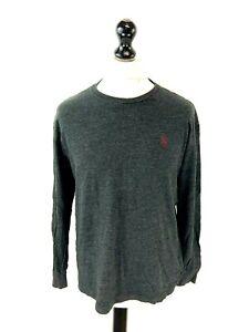 RALPH LAUREN Mens Long Sleeve T-Shirt Top M Medium Grey Cotton