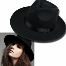 Panama Wool Jazz Fedora Trilby Wide Brim Hat Bowler Derby Cap Mens Womens Black