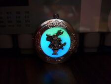 GLOW IN THE DARK Alice in Wonderland White Rabbit Photo Locket Blue Aqua Green