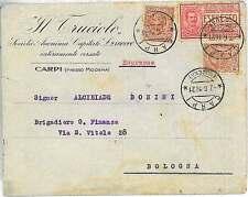 ITALIA REGNO: busta pubblicitaria CARPI MODENA con francobolli PERFIN 1921