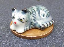 1:12 Scale Dolls House Ceramic Kitten Cat Black Stripes Accessory Ornament ZN
