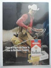 1972 Print Ad Marlboro Man Cigarettes ~ Western Cowboy on Horseback w/ Lasso