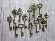 14antique bronze skeleton keys wedding steampunk vintage pendant charm fancy new