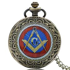Bronze Retro Pendant Masonic Freemason Freemasonry Theme Pocket Watch With Chain