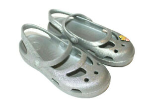 Crocs Silver Sparkle Cinderella Mary Jane Shoes Little Girls Toddler Size 12