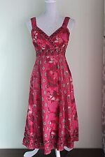 UK 12 EU 40 MONSOON Stunning Sundress Red Strappy Embroidered VGC (244)