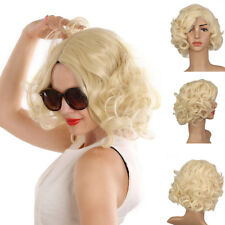 Short Ladies Blonde Synthetic Lace Front Wigs Resistant Full Curly Hair Daily