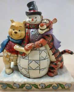 Jim Shore Disney Traditions Showcase Winnie The Pooh Tigger Snowman Winter Scene