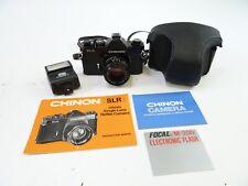 Chinon SLR 35mm Camera w/ Auto 50mm F/1.9, Case, M-200 Flash, & Manuals. In EC.