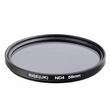 RISE(UK) 58MM Neutral Density ND4 filter for Canon Nikon Pentax Sony Samsung