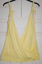 New S Ted Baker Double Layer Slouch front Banana Yellow & White Strappy Vest Top