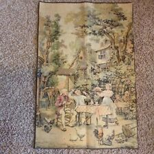 """Antique Vintage French Wall Tapestry - Supper - Finished - 25"""" x 37"""""""
