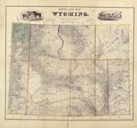A4 Reprint of American Cities Towns States Map Wyoming