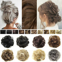 Real As Human Messy Curly Bun Hair Scrunchies Hairpiece Updo Extension Ponytail