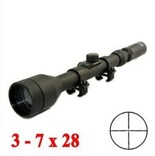 Telescope 3-7X28 Hunting Scope With Mounts Lens Caps For Rifle Airsoft