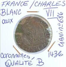 FRANCE CHARLES VII BLANC AUX CORONNELLES 1436 QUALITÉ B