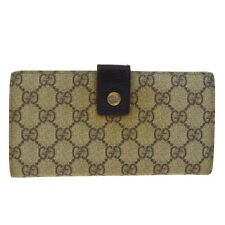 Auth GUCCI GG Pattern Long Bifold Wallet Purse PVC Leather Brown Italy 03V260