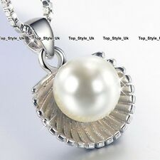 Silver 925 White Pearl Necklace Pendant Chain Jewellery Gifts for Women Girl WE1