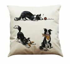 Sheep dog Border Collie  Playtime LINEN-COTTON CUSHION COVER,
